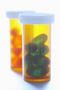 AMBER Pill Vials - Palm & Turn Lids + 10% Snap-On